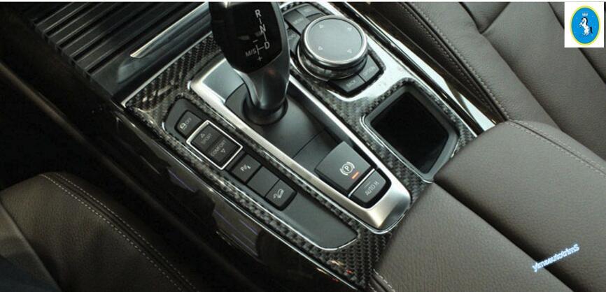 Carbon Fiber Accessories For Bmw X5 F15 2014 2015 2016 Gear Shifter Box Panel Cover Trim 1 Pcs