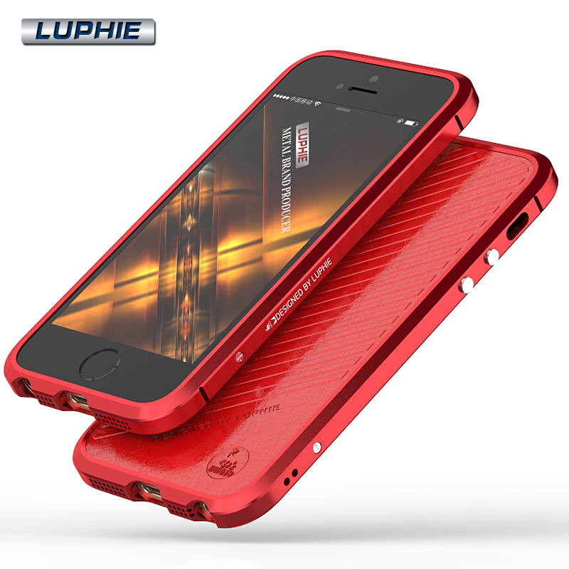 For iphone Se Case Original Luphie Luxury Aluminum Bumper PU Leather Cover Case For Apple iphone
