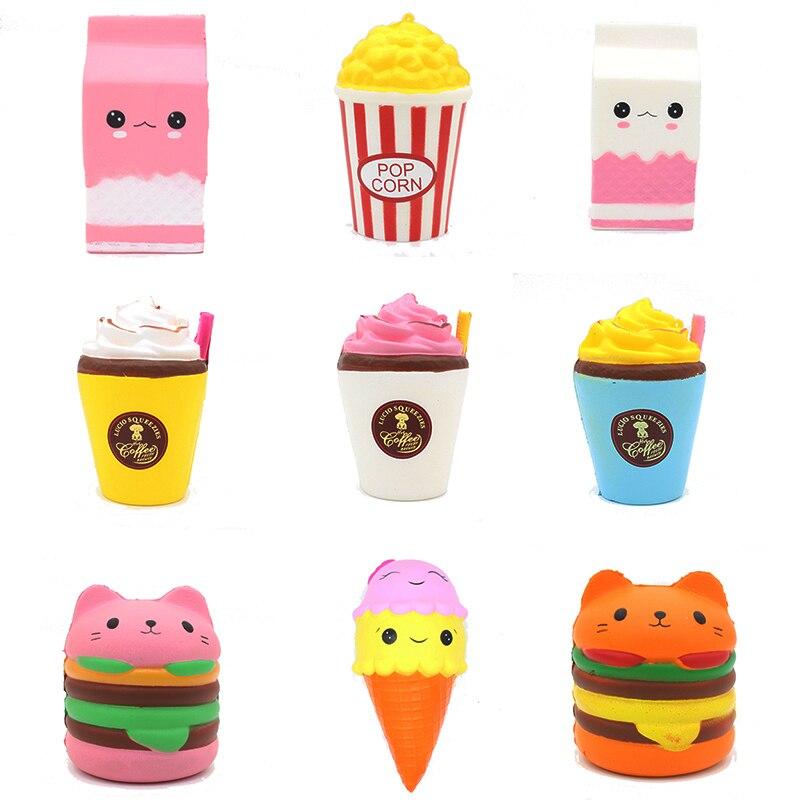 Jumbo 2018 Squishy juguetes los niños lento aumento antiestrés juguete hamburguesa papas fritas Squishies juguete alivio del estrés divertido regalo de los niños juguete