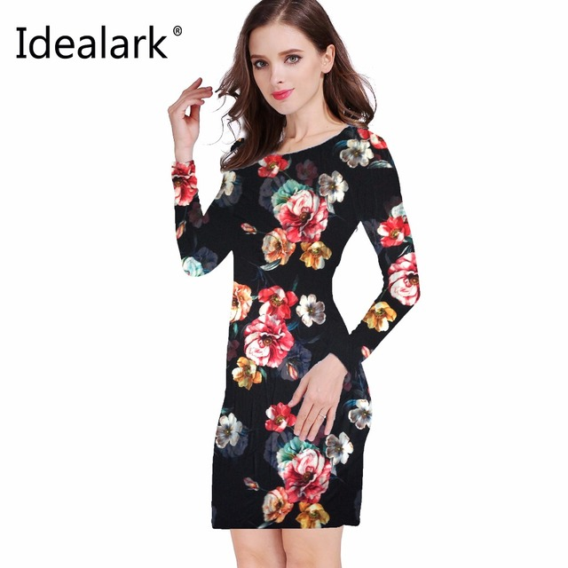 5f677160bb Idealark 2017 dress Women Clothing Spring Fashion Flower Print Dress Ladies  Long Sleeve Casual Autumn Dresses