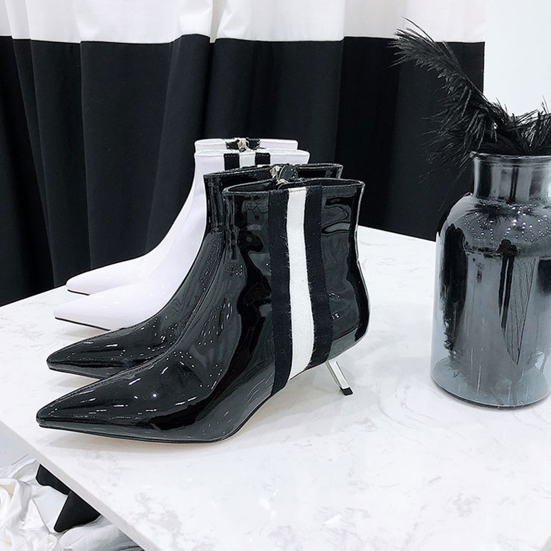 22bf5ba0efe 2018 Chic Real Leather Ankle Boots Woman Pointed Toe Strange High Heel  Boots Woman Fashion Martin Boots -in Ankle Boots from Shoes on  Aliexpress.com ...
