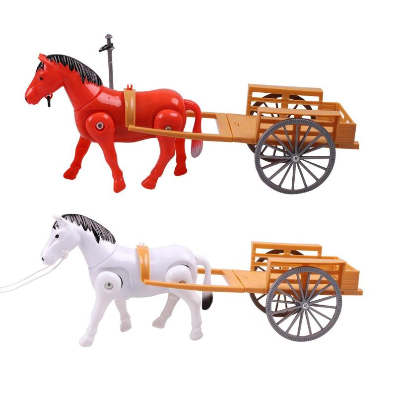 1 Pcs Electric Small Horse Drawn Carriages Toy Children Walking Horse Model Toys Trailer Assemble Bricks Set Educational Toys