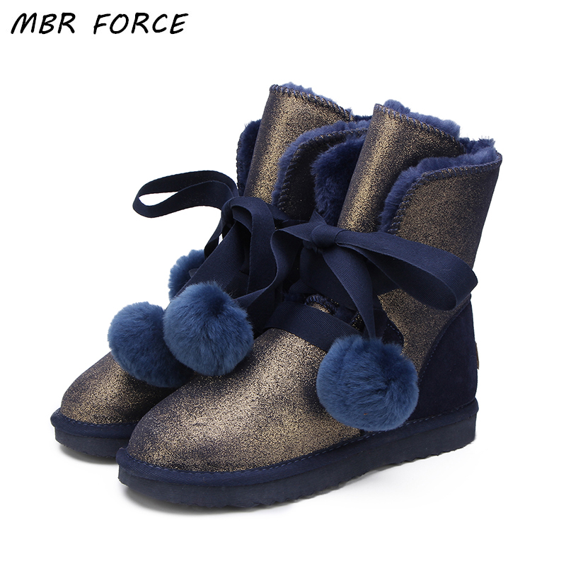 MBR FORCE 2018 New High Quality Fashion Women UG Snow Boots Warm Boots Fur Winter Boots Genuine Leather waterproof Women Boots