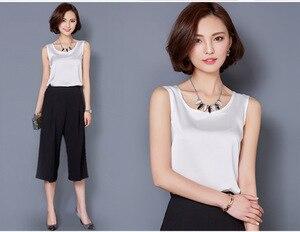 Image 2 - Camiseta sin mangas de verano de talla grande para mujer de color puro de satén de alta elasticidad simulación de seda sling chaleco superior mujeres Y163