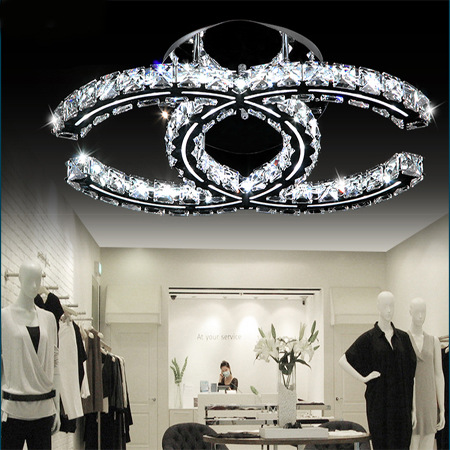 Modern stainless steel crystal ceiling lamp LED remote control stepless dimming crystal lamp bedroom restaurant lighting led crystal chandelier lamp can be customized stainless steel restaurant