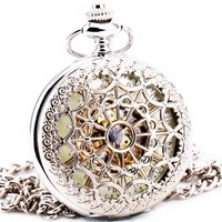 Delicate Silver Stainless Steel Unisex Baroque Women Automatic Mechanical Pocket Watch Hollowed Lid Chain Luxury Fob