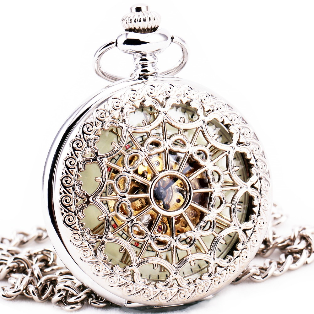 Delicate Silver Stainless-steel Unisex Baroque Women Automatic Mechanical Pocket Watch Hollowed Lid Chain Luxury Fob WatchesDelicate Silver Stainless-steel Unisex Baroque Women Automatic Mechanical Pocket Watch Hollowed Lid Chain Luxury Fob Watches