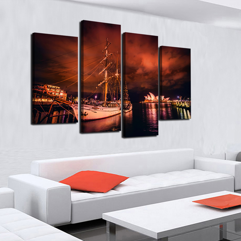 4 Pieces Of Wall Art Sydney Opera House Modern Printing Fashion Mural Posters Pictures Oil Paintings On Canvas