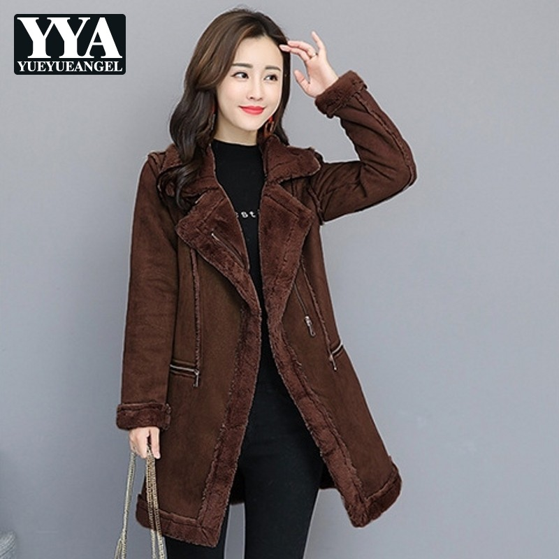 New Korean Harajuku Solid   Suede   Jacket Womens Winter Jackets Thick Warm Faux   Leather   Coat Long Female Fashion Parkas Outerwear