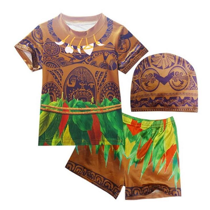 Boys Swimwear Maui Cosplay Costume Moana Beachwear Children Swimsuit Swimming 3PCS/Set Cartoon Bathing Suit
