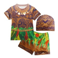 Boys Swimwear Maui Cosplay Costume Moana Beachwear Children Swimsuit Swimming 3PCS/Set Cartoon Bathing Suit