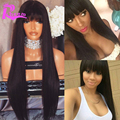 Straight Full Lace Human Hair Wigs With Bangs Brazilian Virgin Lace Front Human Hair Wigs For Black Women Glueless Lacefront Wig