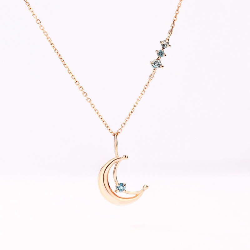 2019 New Fashion Zircon Moon Pendant  925 Sterling Silver Necklaces For Women As Gift