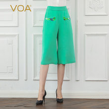 VOA Heavy Silk Cropped Trousers Women Mid Waist Office Work Ladies Wide Leg Pants Mint Green Casual Basic Large Size Simple K773