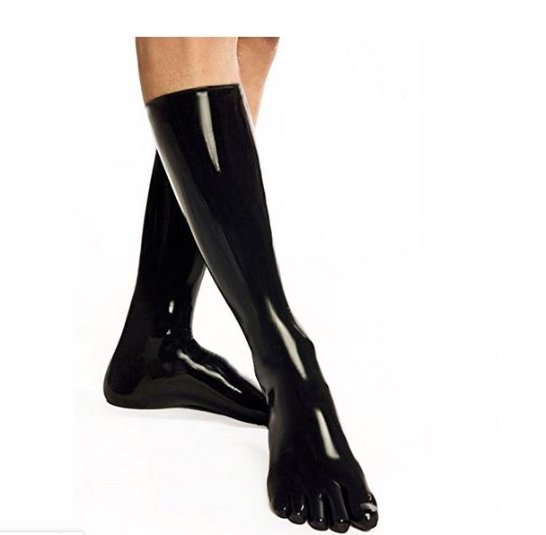 Latex Fetish Latex Stockings With 5 Toes Rubber 35cm Fetish Socks Unisex Clubwear ONE SIZE COLOR BLACK
