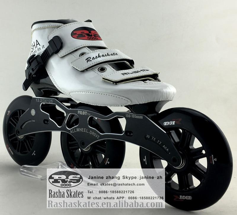 Prix pour RASHA inline vitesse patins withe Couleur Professionnel carbone patins 3 roues 125mm patins à roues alignées wen'women patins quad