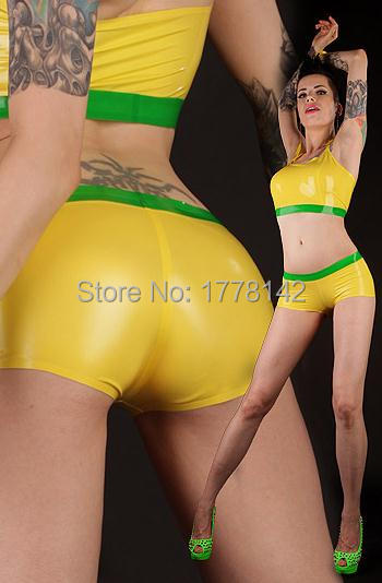 Women Sexy Latex Boyshort Rubber Lingerie Latex Panties Beach Wear With Trims