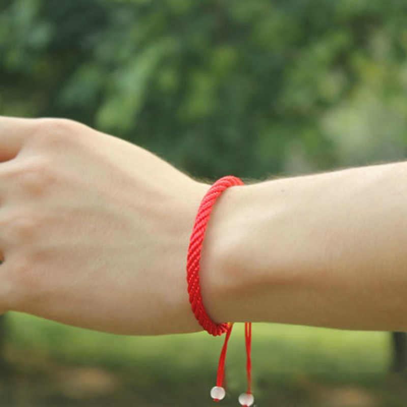 Vente 1PC chanceux doré croix étoile cristal coeur Bracelet pour femmes enfants rouge chaîne réglable à la main Bracelet bijoux à bricoler soi-même