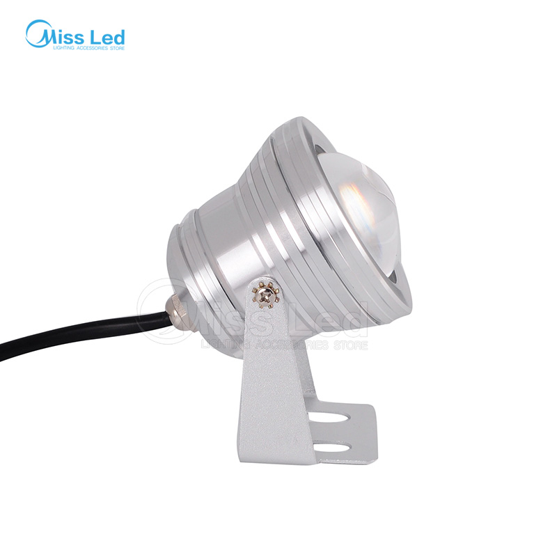 Express 10W 12-24V Silver Led Underwater Floollight with Convex Glass RGB/Warm/Cold white IP65 Waterproof landscape outdoor