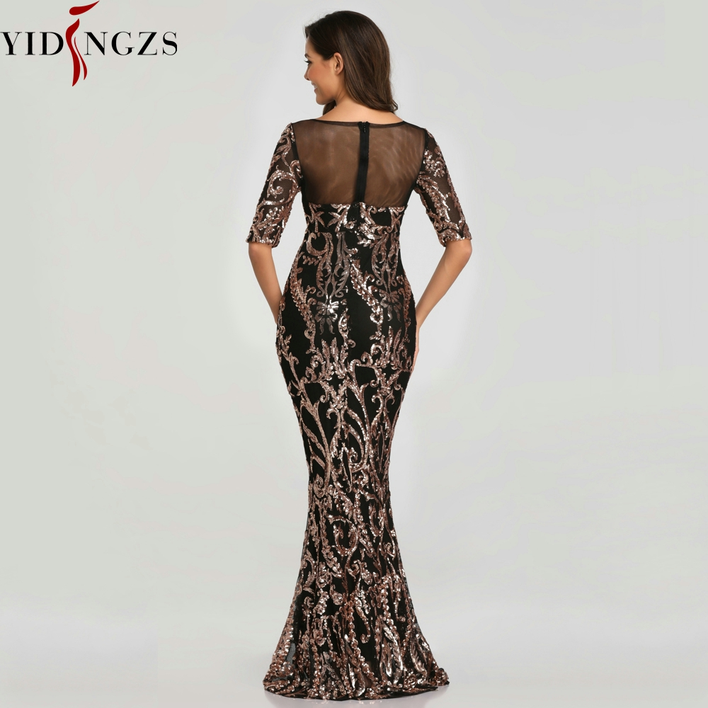 YIDINGZS Sequins Evening Party Dress 2020 Half Sleeve Beads Formal Long Evening Dresses YD603 3