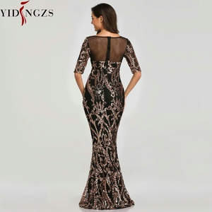 Image 3 - YIDINGZS פאייטים ערב המפלגה שמלת 2020 חצי שרוול חרוזים פורמליות ארוך ערב שמלות YD603