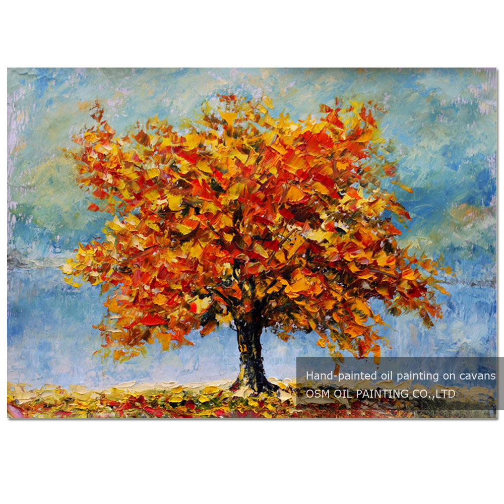 Special Designed Abstract Modern Autumn Trees Oil Painting on Canvas Handmade Orange Colors Fall Landscape Tree Oil Painting
