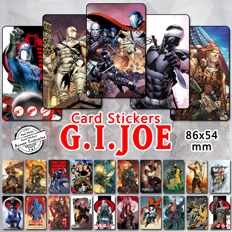 35pcs Gi Joe Series Card Stickers Classic 80s Cartoon Characters Cobra Commander Duke Snake Eyes Baroness