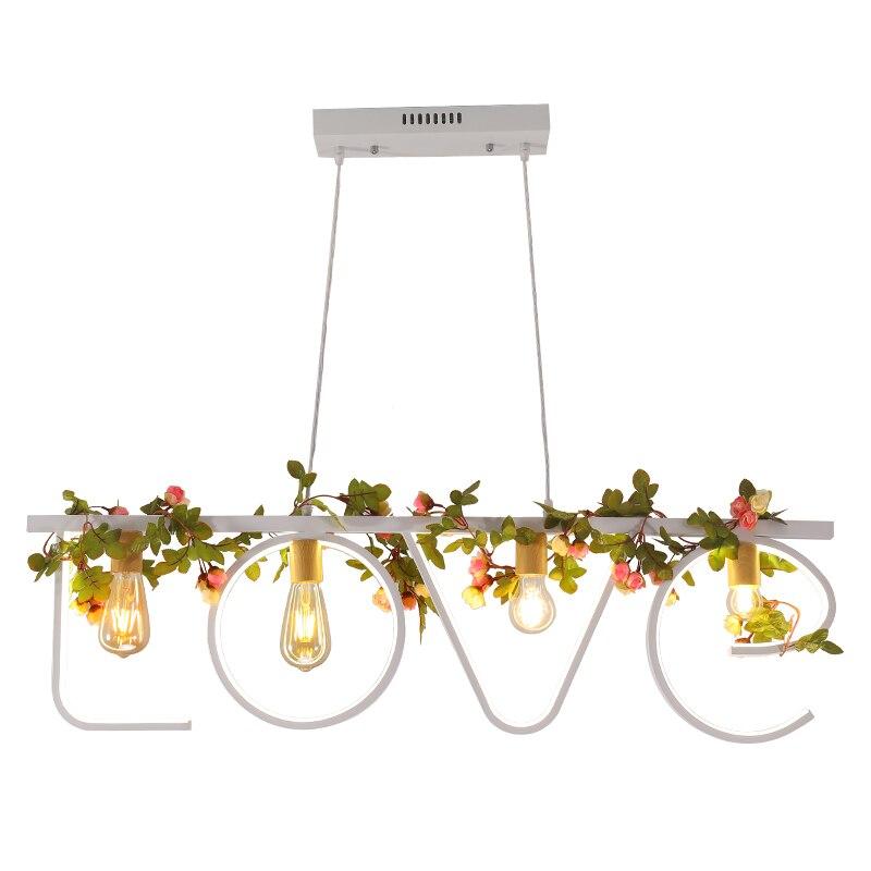 Modern Black White LOVE Letter Iron Plants Chandelier Nordic Industrial Luminaire Lighting Fixture Hanging Lamp