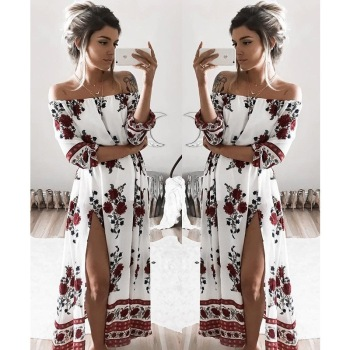 Bohemia Fashion Women Slash Neck Dresses Floral Print Vestidos Spring Summer Beach Sun Slit Loose Lady Dress