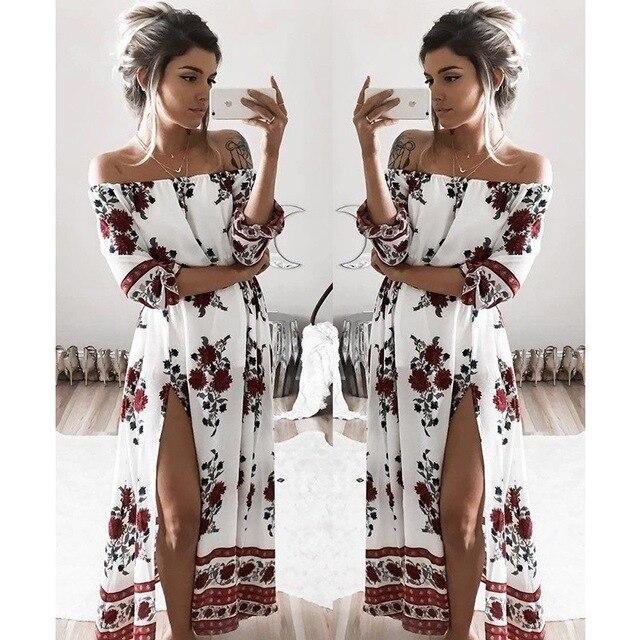Bohemia Fashion Women Slash Neck Dresses Floral Print Vestidos Spring Summer Beach Sun Slit Loose Lady Dress