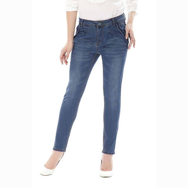 2017 New Fashion Big Size Pencil Pants Solid Color High Waist Skinny Jeans For Larger Lady 5XL 6XL Women Plus Size Clothing