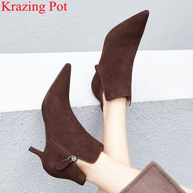 2018 superstar pointed toe genuine leather office lady high heels women ankle boots runway classics luxury