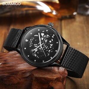 Image 4 - BOAMIGO מותג גברים קוורץ שעון אופנה שלד זכר שחור Milane רשת פלדה בנד אוטומטי תאריך שעוני יד שעון relogio masculino