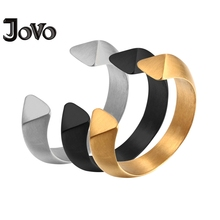 ФОТО stainless steel open cuff rings gold color biker men fingure ring for men party gift high polish silver black wedding rings