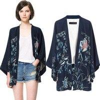 European Fashion Women S Spring And Autumn Casual Outerwear Phoenix Flower Print Kimono Ladies Loose Cardigan
