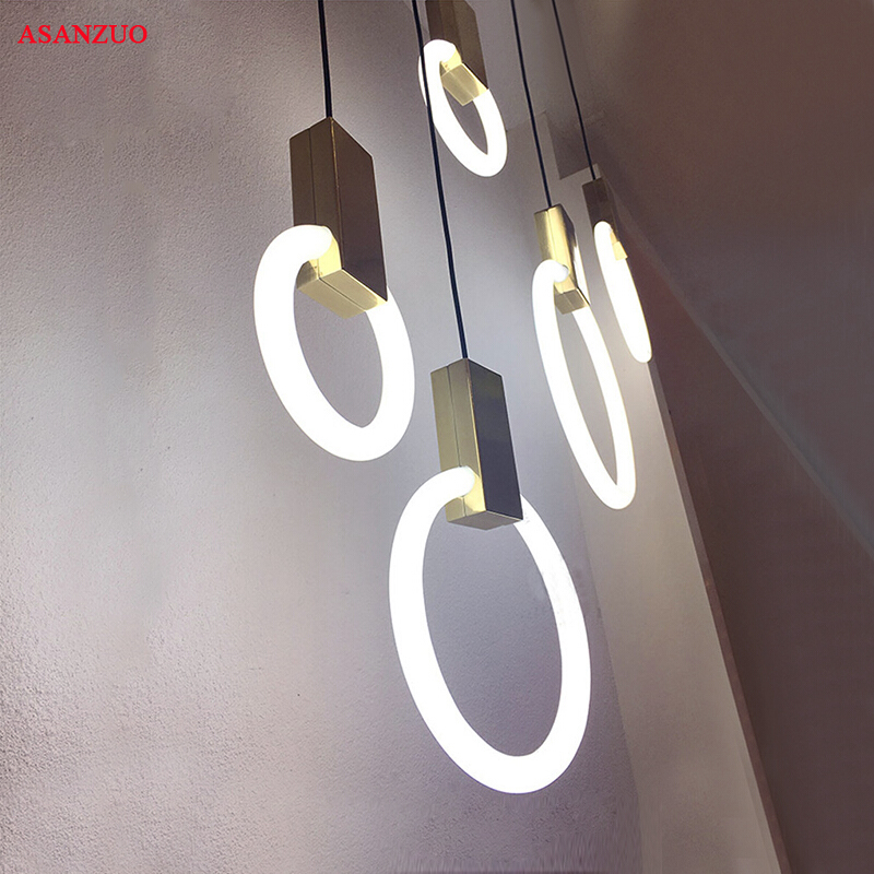 Modern Nordic minimalist hanging lights Circular Pendant light for living room Bedroom dining bar Stairs lighting fixture
