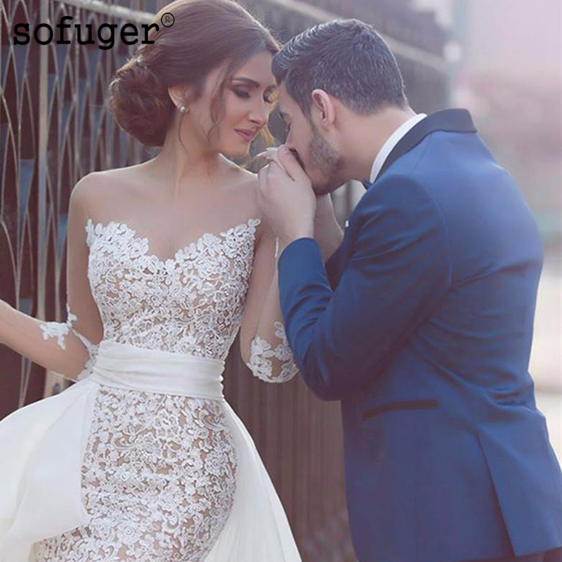 SOFUGE New Princess Wedding Dress Scoop Appliqued Detachable Train Wedding Gown Long Sleeves Boho High Low Bride Dress