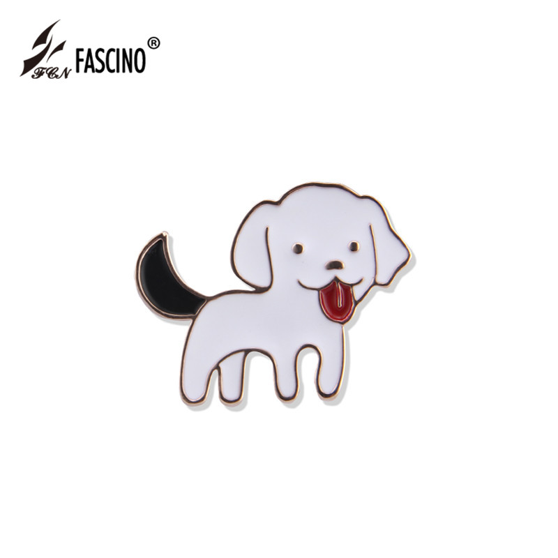 Enamel Dog Brooches For Scarf Sweater Shoulder Collar Jewelry Pins Kids Men Women Christmas Gifts Rose Gld Color Crosage Clips