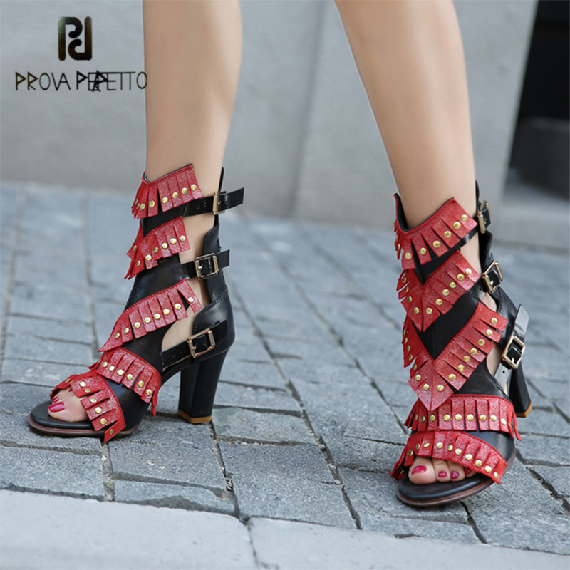 Prova Perfetto Sexy Women Gladiator Sandals 8CM Chunky High Heels Fringed Rivets Summer Boots Peep Toe Women Pumps Stiletto prova perfetto design women gladiator sandals summer boots sexy chunky high heels hollow out strap sandal women pumps ankle boot