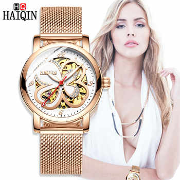 HAIQIN Top Brand Fashion Elegant Women Mechanical Wrist Watch Leather Watchband Female Automatic Clock Skeleton Dial Ladies Gift - DISCOUNT ITEM  40% OFF All Category