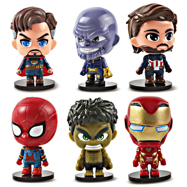 Som iluminação Marvel Superheroes Batman Figuras Vingadores Capitão América Homem De Ferro Homem Aranha Boneca de Brinquedo 4 Endgame Brinquedos Presente