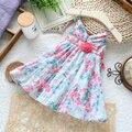 Новое поступление 2014 летние платья для девочек принцессы по уходу за детьми скольжения младенца печать свободного покроя платье детская одежда