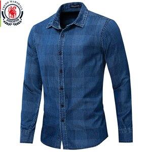 Image 1 - Fredd Marshall 2019 New Fashion Casual Denim Shirt Men Slim Fit Long Sleeve 100% Cotton Plaid Shirt Male Brand Clothing 200