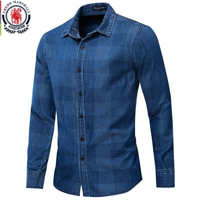 Fredd Marshall 2019 موضة جديدة قميص دينيم عادية الرجال سليم تيشيرت ضيق بأكمام طويلة 100% القطن منقوشة قميص الذكور ماركة الملابس 200