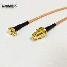 """Угловой плетеный кабель RF RP SMA Female to MCX Male Right Angle Pigtail Cable RG316 15 см """" по оптовой цене быстрая"""