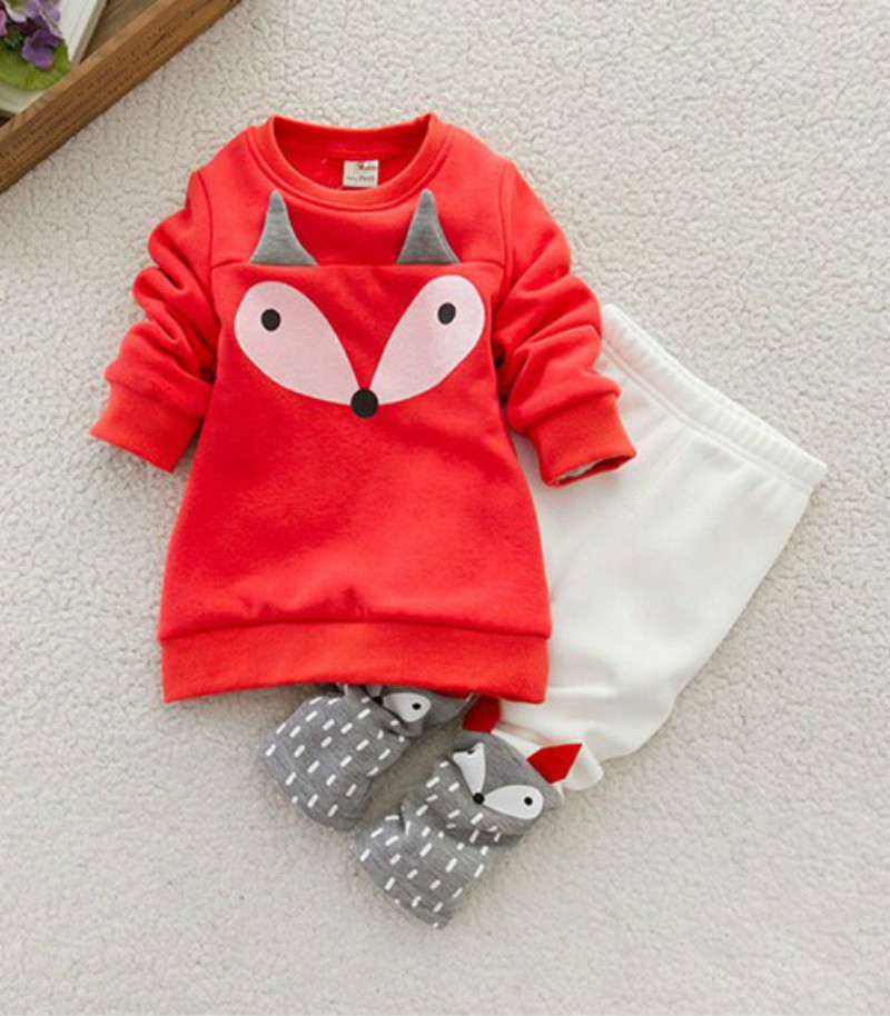 Autumn winter cute Baby Girls sweatshirt Lovely Children's Clothing set 2PCS kids Thick Long Sleeve cartoon Fox Tops + Pant Sets autumn winter girls children sets clothing long sleeve o neck pullover cartoon dog sweater short pant suit sets for cute girls