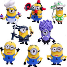 High quality 8PCS Minions Collections Despicable Me Minion Doll Action Figure Baby Toy 3D Eye Puppets Kids Gift