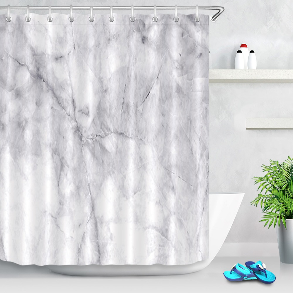 Lb Natural White Marble Texture Waterproof Shower Curtain Set