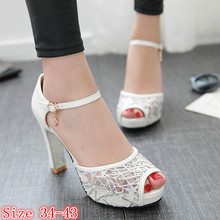 Platform Pumps Summer Women Peep Toe High Heels Sandals Air mesh Woman High Heel Party Wedding Shoes Plus Size 34-40.41.42.43