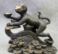 "002642 10"" Folk Chinese Year Zodiac Bronze Wealth Monkey On RuYi YuanBao Coin Statue(China)"